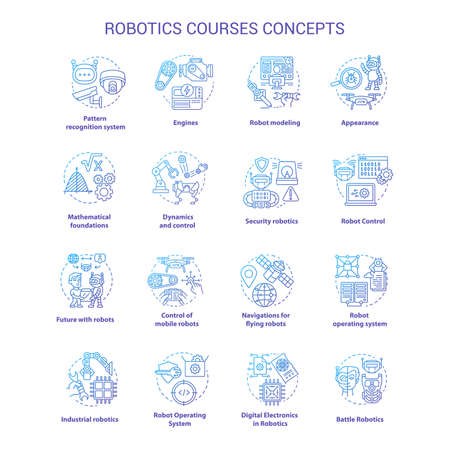 Robotics courses violet concept icons set. Creating robots idea thin line illustrations. Making electronics, devices. Lessons of robot modelling. Vector isolated outline drawings. Editable stroke
