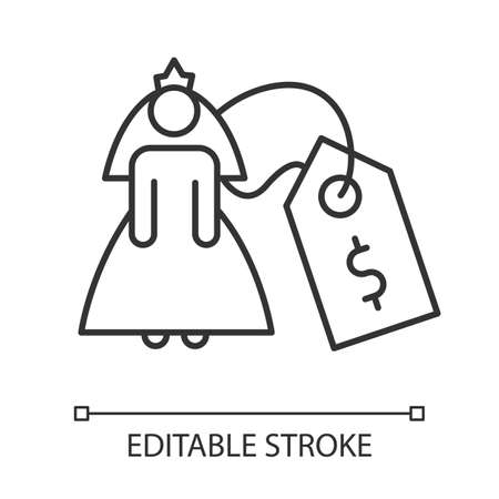 Bride price linear icon. Female rights violation. Forcible wedlock. Compulsory marriage. Criminal offense. Thin line illustration. Contour symbol. Vector isolated outline drawing. Editable stroke