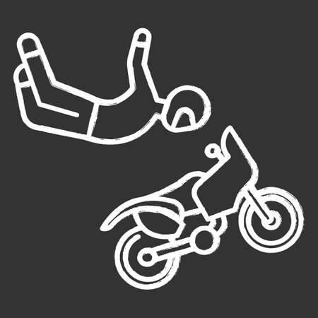 Freestyle motocross chalk icon. Motorcycle stunt riding. Person performing motorcycling air stunt. Extreme sport. Isolated vector chalkboard illustration 向量圖像