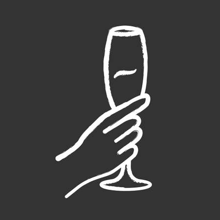 Hand holding glass of wine chalk icon. Champagne stemware. Glassful of alcohol beverage. Wine service. Celebration. Wedding. Stock Illustratie