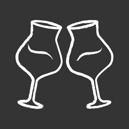 Two clinking glasses of wine chalk icon. Glassfuls of alcohol beverage. Wine service. Celebration, party. Wedding. Degustation. Toast. Cheers. Isolated Isolated vector chalkboard illustration