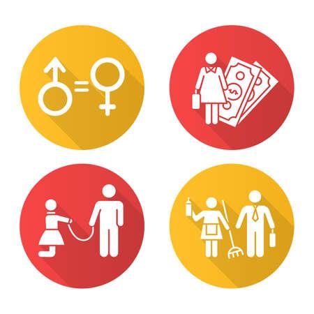 Ensemble d'icônes de glyphe de grandissime de conception plate d'égalité des sexes. Activité économique féminine. Violence contre la femme. L'esclavage sexuel. Stéréotypes de genre. Vecteur isolé Illustration de silhouette vecteur