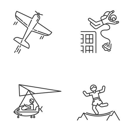 Air extreme sport linear icons set. Aerobatics, base jumping, micro lighting and highlining. Outdoor activities. Thin line contour symbols. Isolated vector outline illustrations. Editable stroke
