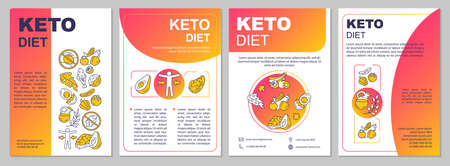 Keto diet gradient brochure template. Ketogenic meal. Flyer, booklet, leaflet print, cover design with linear illustrations. Vector page layouts for magazines, annual reports, advertising posters Иллюстрация