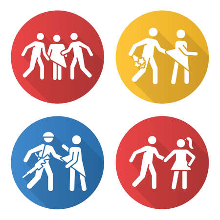 Different rape types flat design long shadow glyph icons set. Sexual harassment of women. Date, statutory, war and gang rape. Sexual assaulted female victims. Vector silhouette illustration 向量圖像