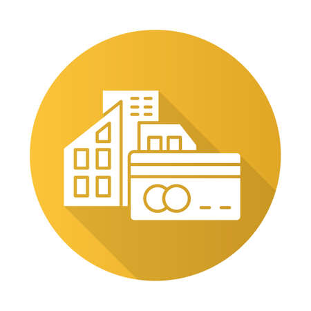 Small business credit yellow flat design long shadow glyph icon. Loan money to buy real estate building. Buying, renting house. Borrow currency to purchase apartment. Vector silhouette illustration