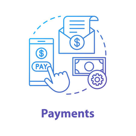 Payments concept icon. Pay online idea thin line illustration. E billing. Financial management app. Expenses tracker application. Internet banking transaction. Vector isolated outline drawing