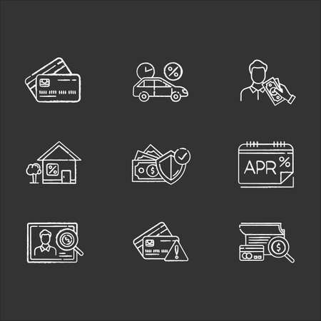 Credit chalk icons set. Annual percentage rate report. Plastic credit card. Insurance program. Home, car loan. Personal creditworthiness. Borrow cash, money. Isolated vector chalkboard illustrations
