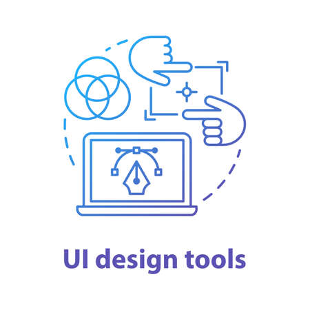 UI design tools concept icon. Software interface development idea thin line illustration. Designing mobile app visuals for user experience. Website builder. Vector isolated outline drawing