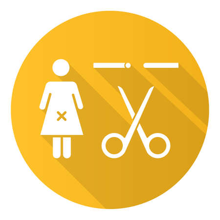 Forced sterilization yellow flat design long shadow glyph icon. Unintended pregnancy prevention method. Female fallopian tube blocked. Compulsory sterilization. Vector silhouette illustration Reklamní fotografie - 134927879