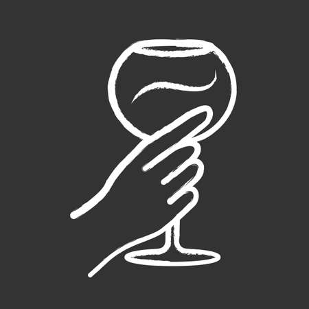 Hand holding wineglass chalk icon. Glassful of alcohol beverage. Wine service. Glassware. Celebration, party. Wedding. Tasting, degustation. Cheers. Isolated vector chalkboard illustration