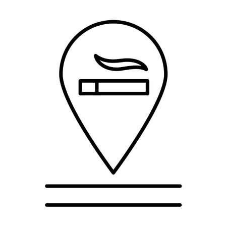 Icône linéaire autorisée de fumer. Signe de zone fumeur. Filtration des fumées de tabac. Commodités de l'appartement. Illustration de la ligne mince. Symbole de contour. Dessin de contour isolé de vecteur. Trait modifiable