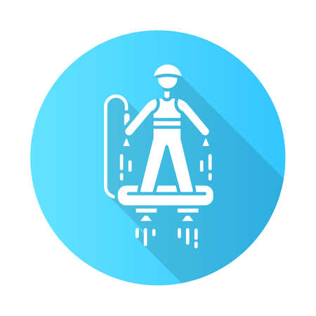 Flyboarding blue flat design long shadow glyph icon. Watersports, extreme and dangerous modern leisure. Recreational outdoor activity. Hydroflight sport. Vector silhouette illustration
