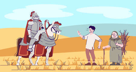 Medieval knight on horse and peasants in field flat vector illustration. Cavalier in armor with farmers cartoon characters with outline. Middle age warrior and simple people. Fantasy personages
