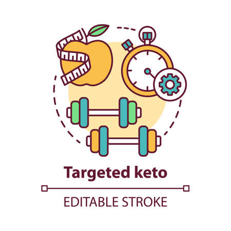 Targeted keto concept icon. Ketogenic food idea thin line illustration. Diet and workout. Healthy meal and fitness. Sport, healthy lifestyle.