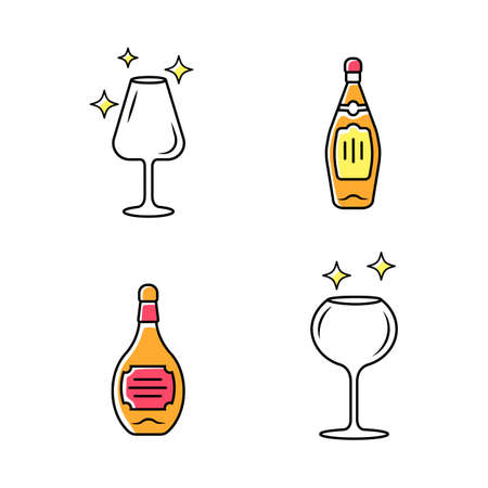 Alcohol drink glassware color icons set. Wine service elements. Crystal glasses shapes. Drinks and beverages types. Whiskey and bourbon bottles with labels. Isolated vector illustrations