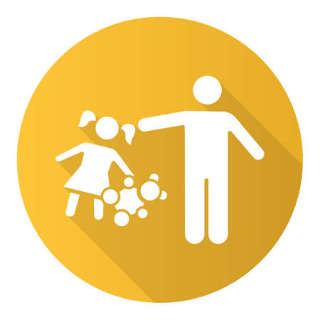 Rape of children yellow flat design long shadow glyph icon. Child harassment, abuse. Victim of assault. Sexual exploitation of kids. Pedophilia of offenders. Vector silhouette illustration