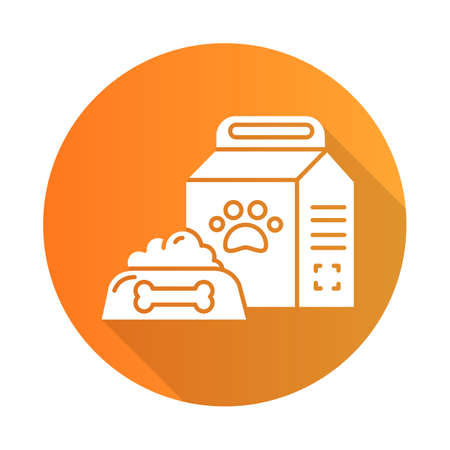Pet supplies orange flat design long shadow glyph icon. Animal food in bowl and package. Treats for dogs and cats. E commerce department, online shopping categories. Vector silhouette illustration 写真素材 - 135451430