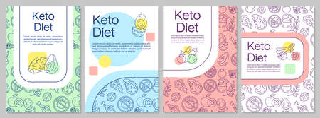 Keto diet brochure template. Ketogenic nutrition. Flyer, booklet, leaflet print, cover design with linear illustrations. Vector page layouts for magazines, annual reports, advertising posters