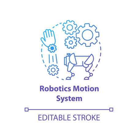 Robotics motion system blue gradient concept icon. Robot software idea thin line illustration. Information technologies and innovative programming. Vector isolated outline drawing. Editable stroke