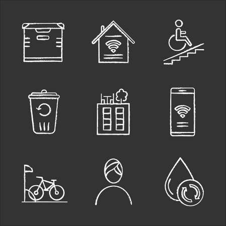 Apartment amenities chalk icons set. Storage, smart home, wheelchair access, recycling, rooftop deck, iInternet access, bike parking, spa, water filtration. Isolated vector chalkboard illustrations