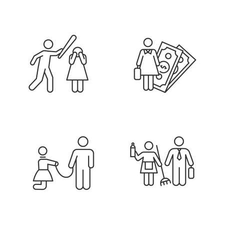 Ensemble d'icônes linéaires d'égalité des sexes. Activité économique. Violences contre les femmes. L'esclavage sexuel. Stéréotypes de genre. Symboles de contour de ligne mince. Illustrations de contour de vecteur isolé. Trait modifiable Vecteurs