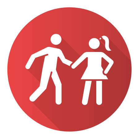 Date rape red flat design long shadow glyph icon. Women abuse, violent behavior. Sexual harassment of young females. Victim of assault. Sexual activity without consent.