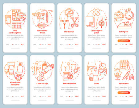 Safe onboarding mobile app page screen vector template. Walkthrough website steps with linear illustrations. Female condom. Oral contraceptive. UX, UI, GUI smartphone interface concept Vetores