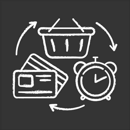 Revolving credit chalk icon. Consumer lines of credit. Buying goods with borrowed money. Commerce, retail. Marketing industry. Budget, economy. Isolated vector chalkboard illustration