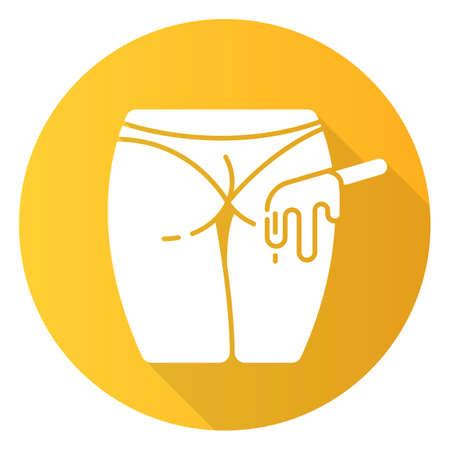 Fesses épilation icône de glyphe de grandissime design plat jaune. Procédure d'épilation féminine. Epilation à la cire naturelle. Soins de beauté professionnels. Une peau propre. Illustration de silhouette vectorielle