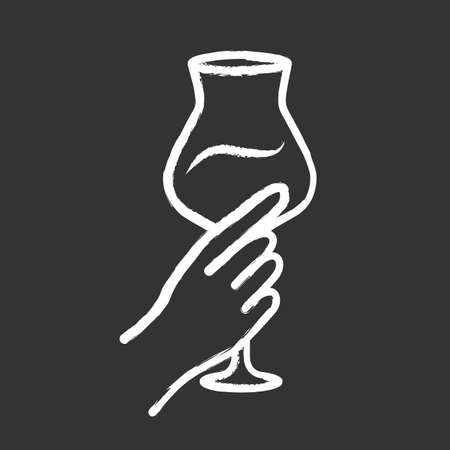 Hand holding glass of wine chalk icon. Glassful of alcohol drink. Wine service. Glassware. Celebration, party. Wedding. Cheers. Tasting, degustation. Isolated vector chalkboard illustration