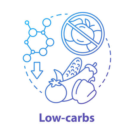 Low carbs blue gradient concept icon. Keto diet idea thin line illustration. Healthy meal. Ketogenic food. Carbohydrate nutrition. Fresh vegetables. Vector isolated outline drawing Ilustrace