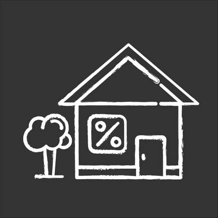 Home loan chalk icon. Credit with interest rate to buy real estate building. Buying, renting house. Borrow money to purchase apartment. Investment, mortrage. Isolated vector chalkboard illustration