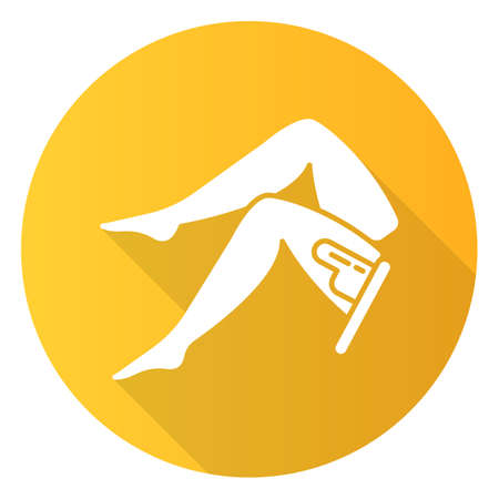 Leg waxing orange flat design long shadow glyph icon. Female hair removal procedure. Depilation with natural soft hot wax. Professional beauty treatment. Vector silhouette illustration