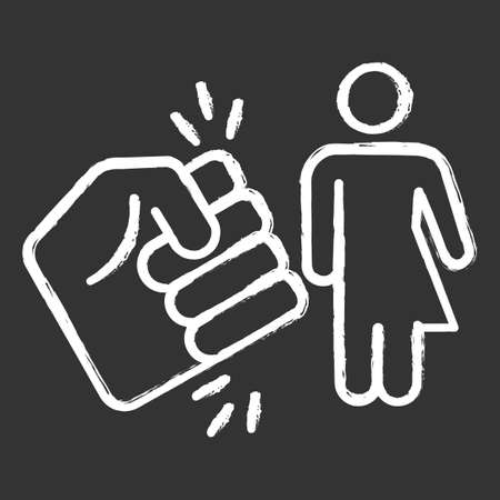 Violance against transwoman chalk icon. Transgender people inequality. Harrassing, bullying trans girl. Intersex, transsexual female. Fist punching person. Isolated vector chalkboard illustration