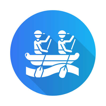 Rafting blue flat design long shadow glyph icon. Watersport, extreme kind of sport. Recreational outdoor activity and hobby. Risky and adventurous leisure on rough water.Vector silhouette illustration Vektorové ilustrace