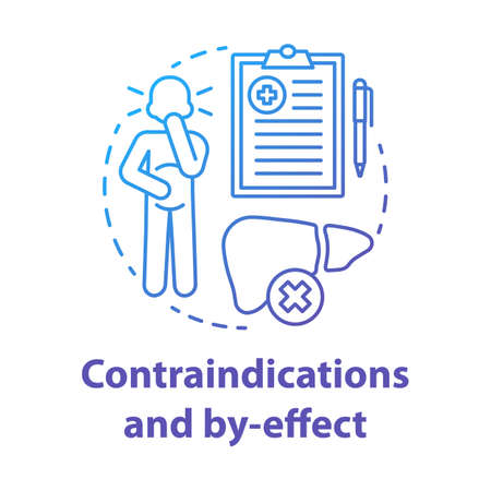 Contraindications and by effect blue gradient concept icon. Keto diet idea thin line illustration. Ketogenic therapy. Treatment warning. Side symptoms. Vector isolated outline drawing  イラスト・ベクター素材