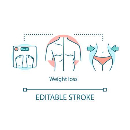 Symbol für Gewichtsverlust-Konzept. Diät Idee dünne Linie Abbildung. Gesunder Lebensstil, Gesundheitswesen, Fitness. Diätetische Ernährung. Schlanker Körper, Schuppen. Vektor isolierte Umrisszeichnung. Bearbeitbarer Strich