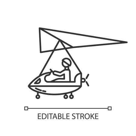 Ultralight aviation linear icon. Micro lighting. Air extreme sport. Microlight trick. Adrenaline recreation. Stunt flying. Ultra light aeroplane flights. Vector isolated drawing. Editable stroke