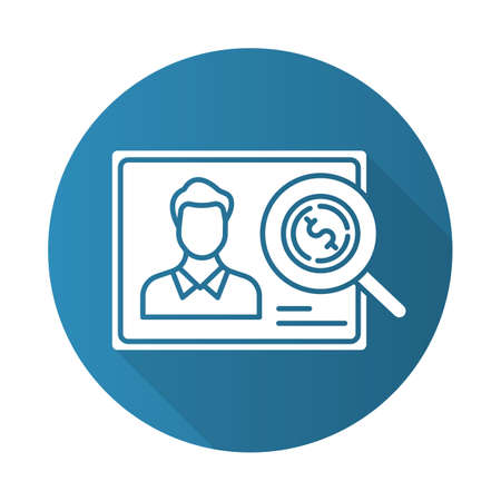 Verifying creditworthiness blue flat design long shadow glyph icon. Examining personal credit history. Financial report. Economy business. Investment, budget graph. Vector silhouette illustration Ilustración de vector