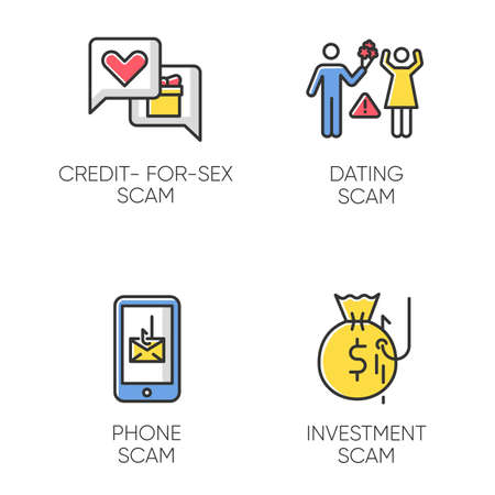 Scam types color icons set. Credit-for-sex fraudulent scheme. Phone, smishing trick. Online dating fraud. Cybercrime. Financial scamming. Illegal money gain. Isolated vector illustrations