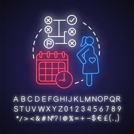Planning and preparing for pregnancy neon light concept icon. Future mother idea. Calendar method, ovulation. Glowing sign with alphabet, numbers and symbols. Vector isolated illustration Illusztráció