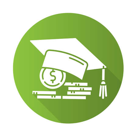 Student loan green flat design long shadow glyph icon. Credit to pay for university education. Tuition fee. Graduation hat, coin stack. College scolarship. Vector silhouette illustration Vectores