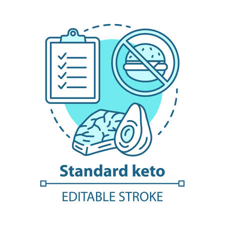 Symbol für das Standard-Keto-Konzept. Ketogene Diätidee dünne Linie Illustration. Low-Carb-Ernährung. Gesundes Essensmenü, diätetische Mahlzeit. Gesundheitswesen, Lebensstil. Vektor isolierte Umrisszeichnung. Bearbeitbarer Strich