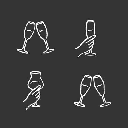 Wine service chalk icons set. Clinking glasses of champagne. Hands holding alcohol drinks. Celebration, party. Wedding. Tasting, degustation. Cheers. Toast. Isolated vector chalkboard illustrations Vettoriali
