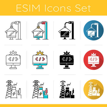 Industry types icons set. Computer, software, energy sectors of economy. Technology development. Businesses activities. Flat design, linear, black and color styles. Isolated vector illustrations