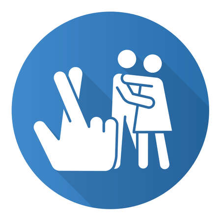 Statutory rape blue flat design long shadow glyph icon. Harassment of females. Sexual activity with minor. Protecting youth from sexual exploitation. Rape by deception. Vector silhouette illustration Vectores