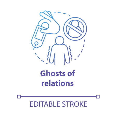 Ghost of relations concept icon. Ghosting. Breaking off relationship. Stopping communication and contact with partner idea thin line illustration. Vector isolated outline drawing. Editable stroke Vectores