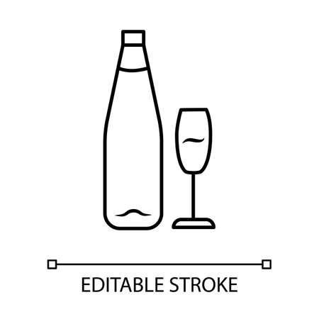 Wine linear icon. Alcohol bar. Bottle and wineglass. Restaurant service. Standard glassware for white wine. Thin line illustration. Contour symbol. Vector isolated outline drawing. Editable stroke