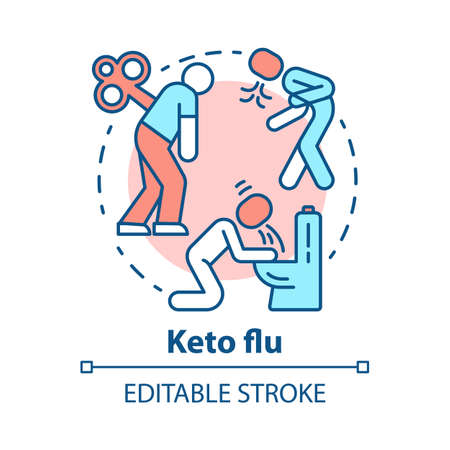 Keto flu concept icon. Ketogenic diet side effects idea thin line illustration. Carb withdrawal. Nausea, fatigue, pain. Disease symptoms. Vector isolated outline drawing. Editable stroke Vector Illustration